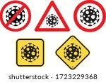 warning of covid 19 sign vector ... | Shutterstock .eps vector #1723229368