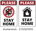 warning of covid 19 icons. stay ... | Shutterstock .eps vector #1723229392
