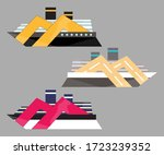 version icon of cruise liner.... | Shutterstock . vector #1723239352
