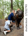 Four Young Boys At Zoo Ride Th...