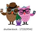 Hipster Owl Family. Eps 10...