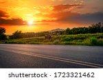 Oklahoma Landscape At Sunset. ...