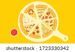 fresh pizza with tomato  cheese ...   Shutterstock .eps vector #1723330342