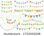 a lot of cute colorful garland | Shutterstock .eps vector #1723343248