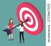 women discussing working tasks... | Shutterstock .eps vector #1723467325