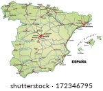 map of spain with highways in... | Shutterstock . vector #172346795