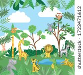 jungle with wild animals... | Shutterstock .eps vector #1723471612