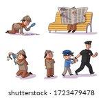 set of detective boy... | Shutterstock .eps vector #1723479478