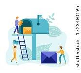 postmen deliver mail flat style ...   Shutterstock .eps vector #1723480195