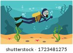 Scuba Diver Swimming Through...