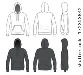 Blank Men's hoodie in front, back and side views