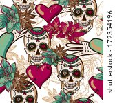 skull  hearts and flowers... | Shutterstock .eps vector #172354196