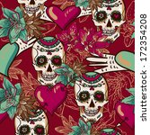 skull  hearts and flowers... | Shutterstock .eps vector #172354208