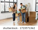 Small photo of mortgage, family and real estate concept - happy mother, father and little daughter with stuff in boxes moving to new home
