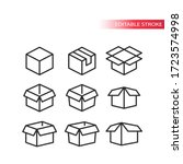 outline box vector set. open ... | Shutterstock .eps vector #1723574998