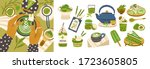 set of different tasty matcha... | Shutterstock .eps vector #1723605805