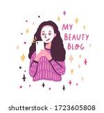 funny cartoon girl with facial...   Shutterstock .eps vector #1723605808