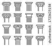 Ancient Columns Icon Set. Line Style Vector