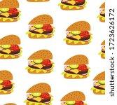 burger seamless pattern... | Shutterstock .eps vector #1723626172
