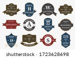 big bundle set of retro vintage ... | Shutterstock .eps vector #1723628698