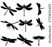 black silhouette dragonfly ... | Shutterstock .eps vector #1723631605