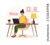 woman sitting table with laptop.... | Shutterstock .eps vector #1723635958