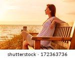 relaxing female on sundown... | Shutterstock . vector #172363736