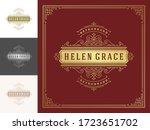 vintage logo elegant flourishes ... | Shutterstock .eps vector #1723651702