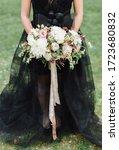 Bride In Black Wedding Dress...