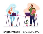 stay at home. the concept of... | Shutterstock .eps vector #1723692592