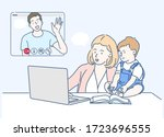 mom and toddler video calling...   Shutterstock .eps vector #1723696555
