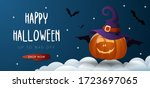 halloween sale banner with jack ... | Shutterstock .eps vector #1723697065