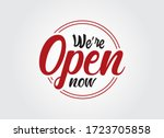 we're open black and red sign...   Shutterstock .eps vector #1723705858