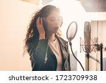 Pretty Female Singer Recording...