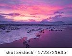 aerial shot of sunrise over...   Shutterstock . vector #1723721635