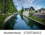 canal view in the medieval old...   Shutterstock . vector #1723726312