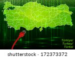 map of turkey with borders in... | Shutterstock . vector #172373372