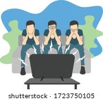 people watching news. see no...   Shutterstock .eps vector #1723750105