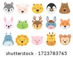 set of cute animal heads.... | Shutterstock .eps vector #1723783765