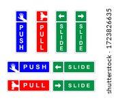 push  pull  slide door signs... | Shutterstock .eps vector #1723826635