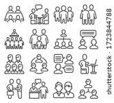meeting icons set on white... | Shutterstock .eps vector #1723844788