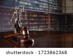 Judge\'s Gavel On Library...