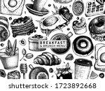 breakfast table banner. morning ... | Shutterstock .eps vector #1723892668