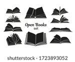 open book black silhouettes.... | Shutterstock .eps vector #1723893052