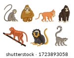 cartoon monkey. wildlife and... | Shutterstock .eps vector #1723893058