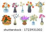 bouquet of flowers set. tulips... | Shutterstock .eps vector #1723931302