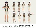 business woman wearing a face... | Shutterstock .eps vector #1723937218
