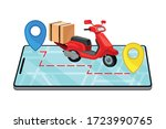 cardboard box and scooter with... | Shutterstock .eps vector #1723990765