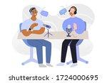 radio interview  podcast host... | Shutterstock .eps vector #1724000695