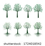 set green trees with leaves.... | Shutterstock .eps vector #1724018542